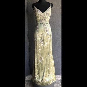 Badgley Mischka Vintage Couture Green Floral Gown